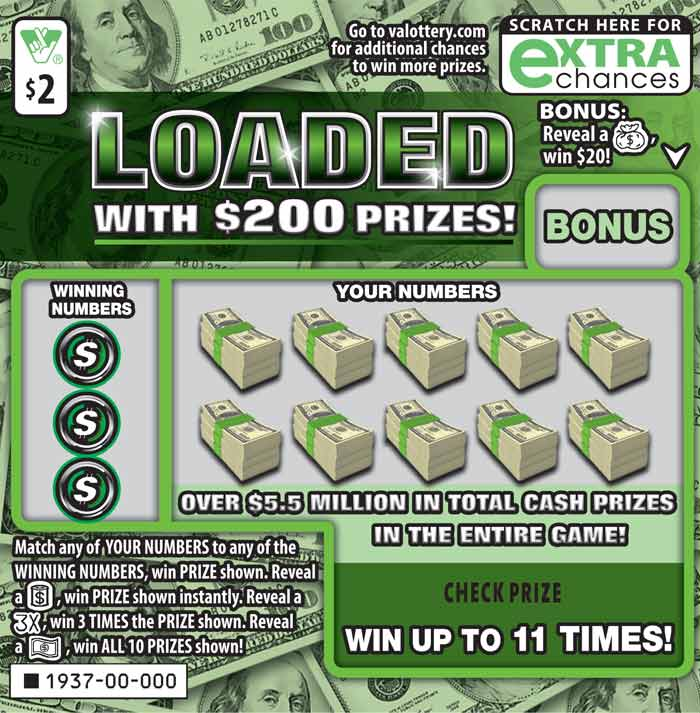 Loaded with $200 Prizes! Scratcher   Virginia Lottery