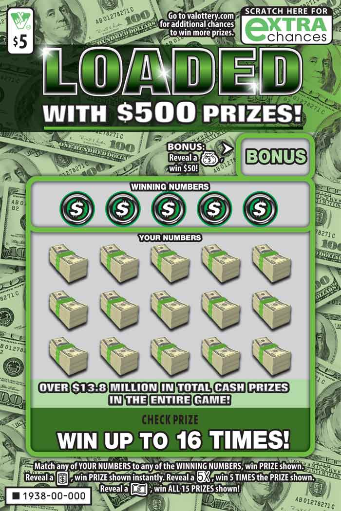 Loaded with $500 Prizes! Scratcher | Virginia Lottery