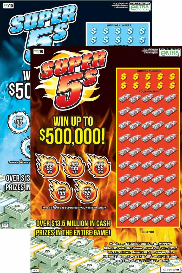Super 5s Scratcher   Virginia Lottery