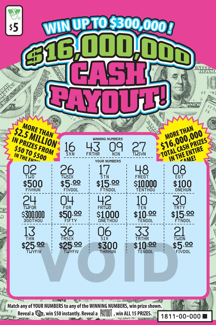 $16,000,000 Cash Payout! Scratcher   Virginia Lottery